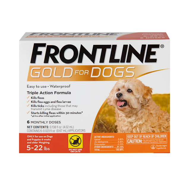 FRONTLINE Gold Flea & Tick Treatment for Small Dogs Up to 5 to 22 lbs., Pack of 6 - Carousel image #1