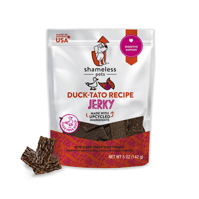 Shameless Pet Treats Duck Sweet Potato Jerky Bites Dog Treats, 5 oz. - Carousel image #1