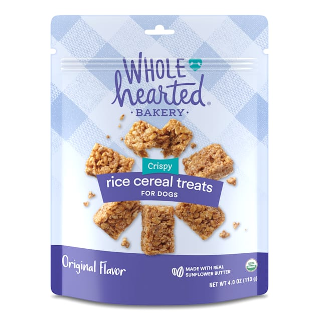 WholeHearted Sunflower Seed Butter-flavor Rice Cereal Treats for Dogs, 4 oz. - Carousel image #1