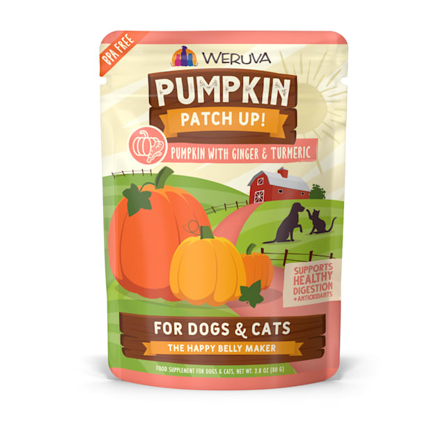 Weruva Pumpkin Patch Up! Pumpkin with Ginger & Turmeric Food Supplement for Dogs and Cats, 2.8 oz., Case of 12 - Carousel image #1