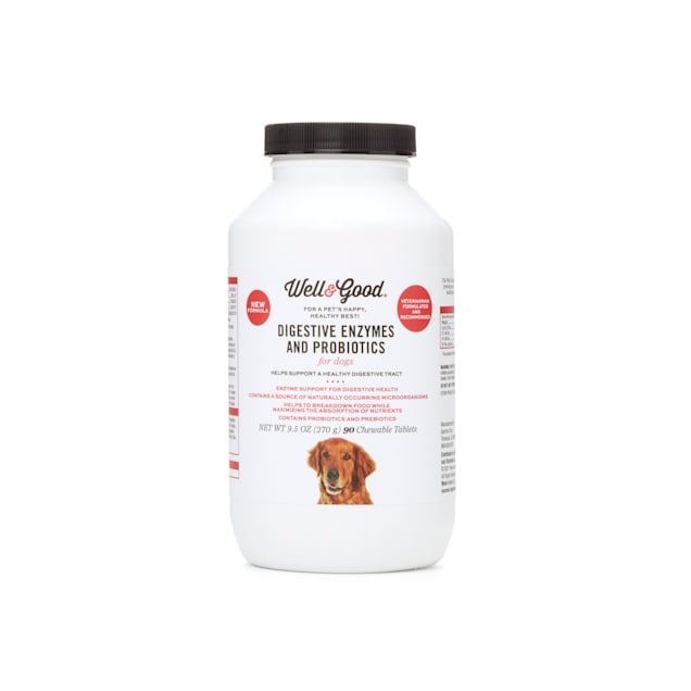 Well & Good Digestive Enzymes and Probiotics Chewable Tablets for Dogs, Count of 90 - Carousel image #1