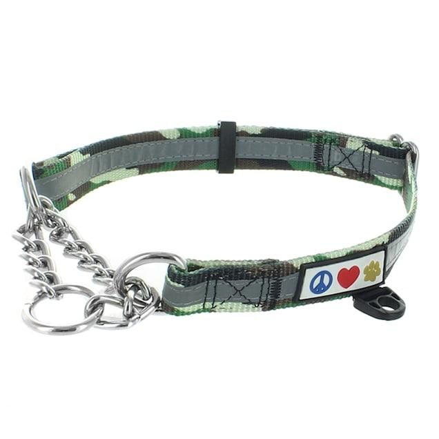 Pawtitas Camouflage Green Chain Martingale Dog Collar, Medium - Carousel image #1