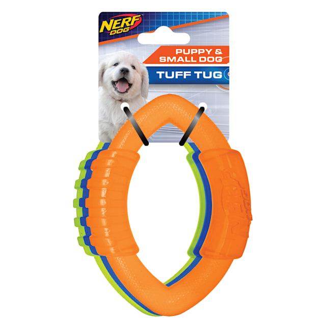 Nerf Translucent TPR Football Ring Dog Toy, Small, Pack of 3 - Carousel image #1