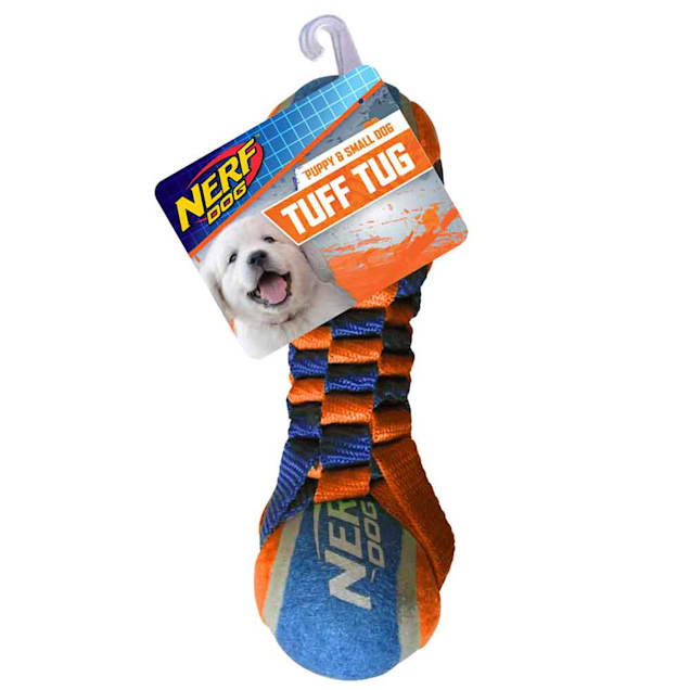 Nerf Nylon Round Braided Double Layer Barbell Tennis Ball with Rope Dog Toy, Medium - Carousel image #1