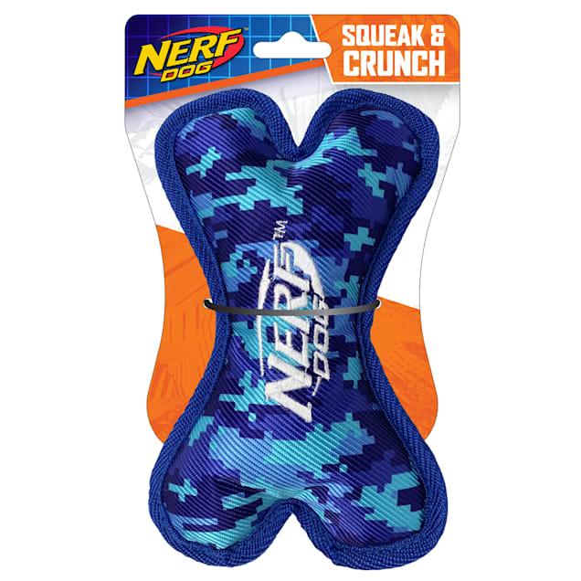 Nerf Nylon Digital Tough Camo Squeak and Crunch Bone Dog Toy, Small - Carousel image #1