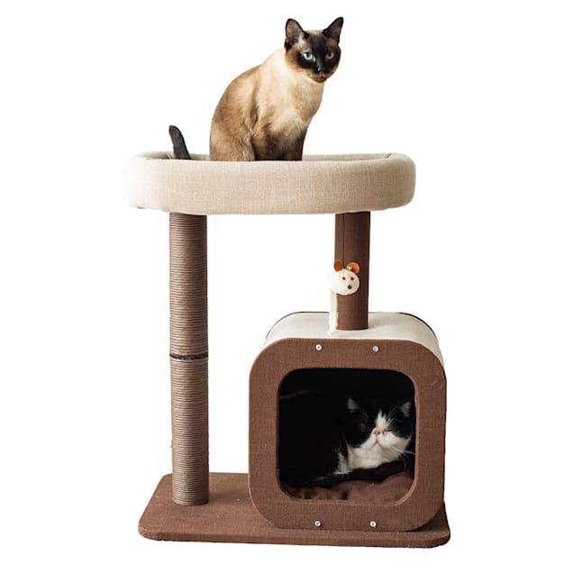 "PetPals Group Brown/Gray POD 2-Level Cat Tree, 23"" L X 15"" W X 27"" H - Carousel image #1"