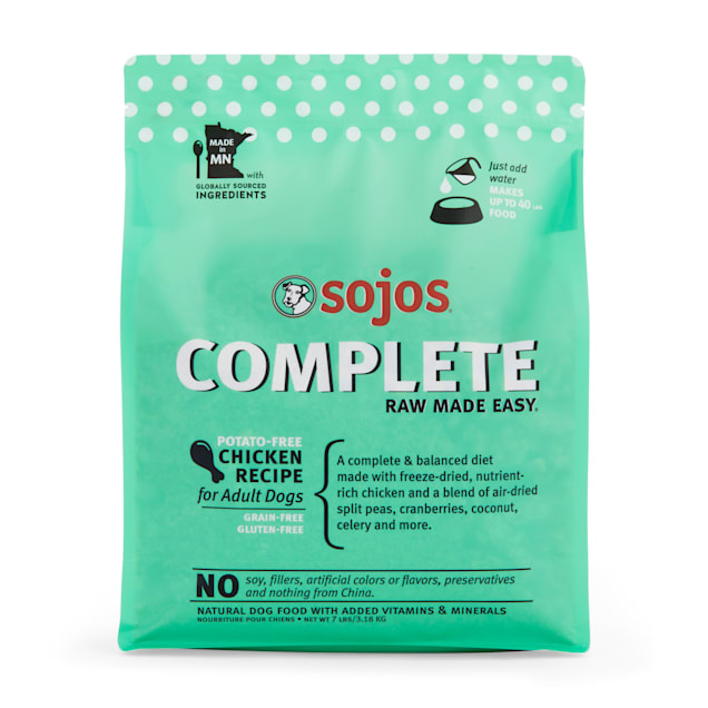 Sojos Complete Adult Grain-Free Chicken Recipe Freeze-Dried Raw Dog Food, 7 lbs. - Carousel image #1
