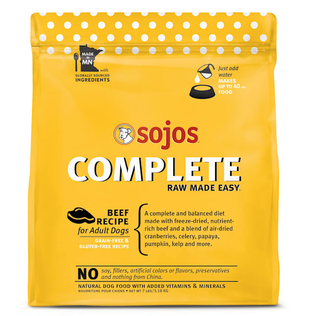 Sojos Complete Grain & Gluten Free Adult Beef Recipe Freeze Dried Raw Dog Food, 7 lbs. - Carousel image #1