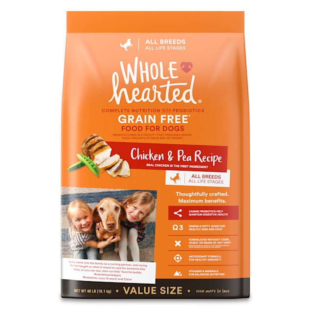 WholeHearted Grain Free All Life Stages Chicken & Pea Recipe Dry Dog Food, 40 lbs. - Carousel image #1