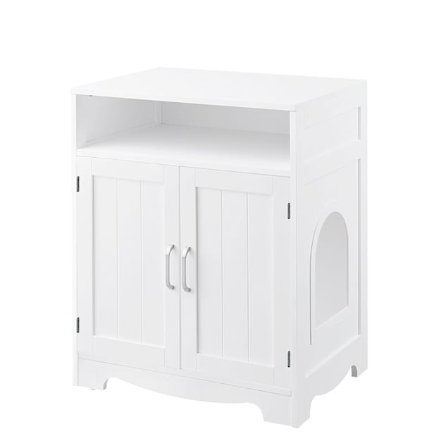 """UniPaws Enclosure White Designed Litter Box for Cats, 24"""" L x 17"""" W x 29"""" H - Carousel image #1"""