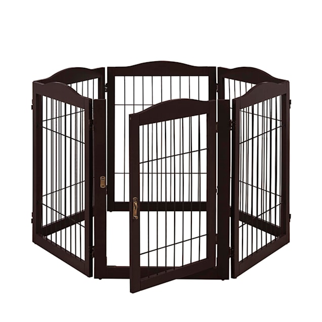 """UniPaws Extra Wide 6 Panel Espresso Playpen with Wire for Dogs, 22""""-132"""" W x 32"""" H - Carousel image #1"""