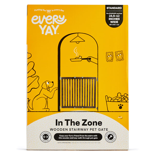 """EveryYay In The Zone Wooden Pet Gate, 25.5-42"""" W X 60"""" H - Carousel image #1"""
