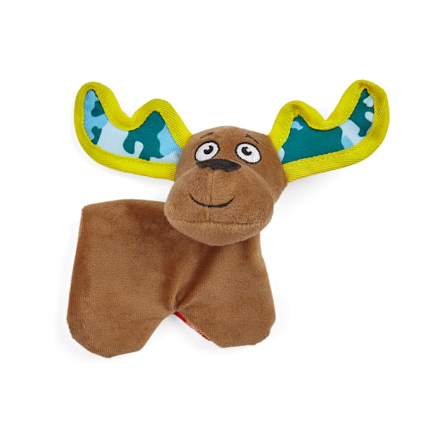YOULY Started As A Bottle Recycled & Reinvented Earthy Moose Plush Flattie Dog Toy, Small - Carousel image #1
