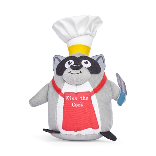 YOULY Started As A Bottle Recycled & Reinvented Kiss The Cook Raccoon Plush Dog Toy, Medium - Carousel image #1