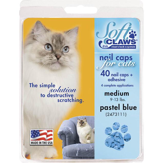 Soft Claws Blue Pastel Cat Nail Caps, Medium - Carousel image #1