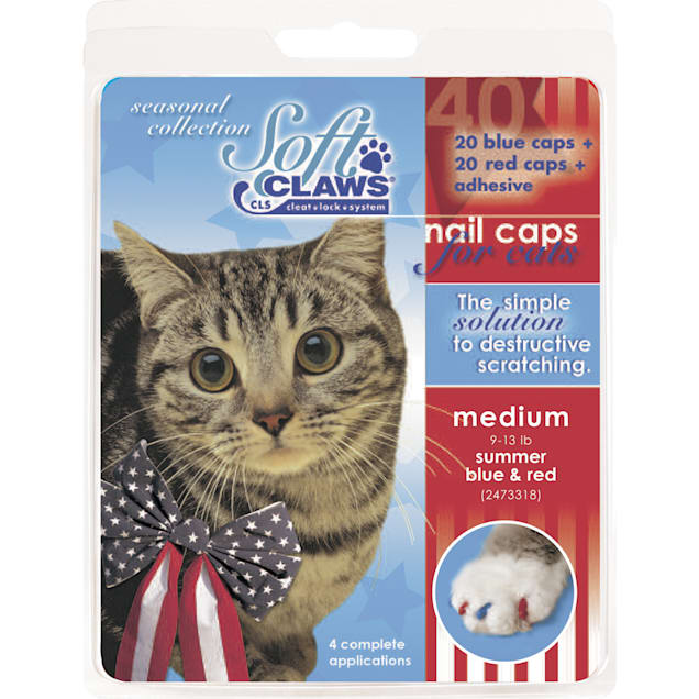 Soft Claws Summer Blue & Red Cat Nail Caps, Large - Carousel image #1