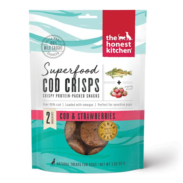 The Honest Kitchen Superfood Cod Crisps: Cod & Strawberry Dog Treats, 3 oz. - Carousel image #1