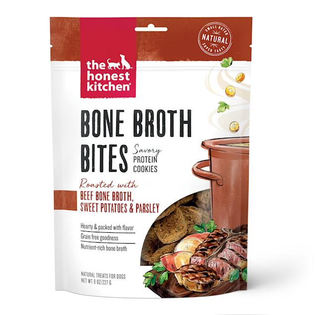 The Honest Kitchen Bone Broth Bites: Roasted with Beef Bone Broth, Sweet Potatoes & Parsley Dog Treats, 8 oz. - Carousel image #1
