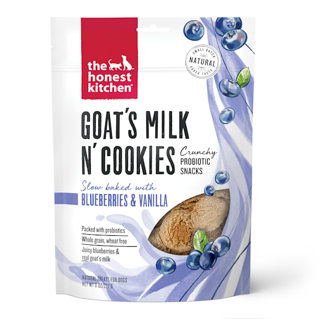 The Honest Kitchen Goat's Milk N' Cookies: Slow Baked with Blueberries & Vanilla Dog Treats, 8 oz. - Carousel image #1