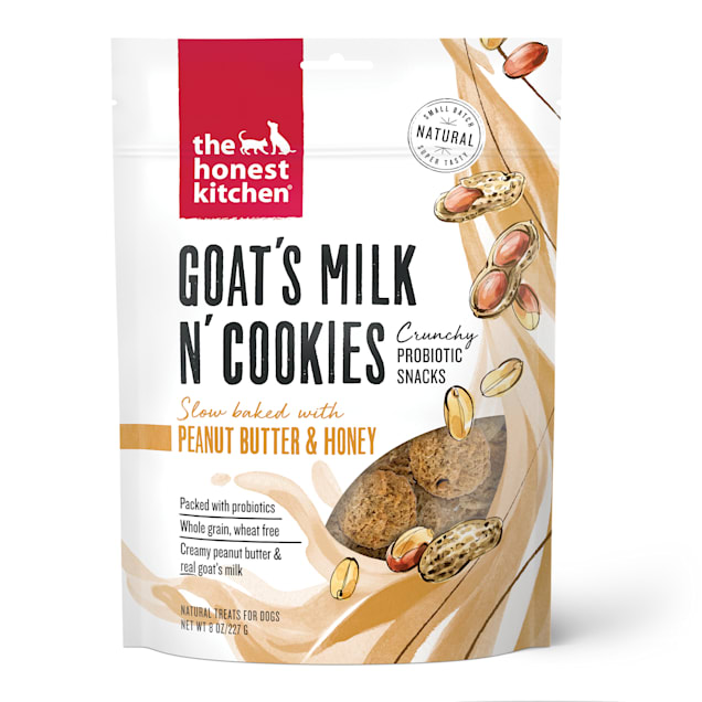 The Honest Kitchen Goat's Milk N' Cookies: Slow Baked with Peanut Butter & Honey Dog Treats, 8 oz. - Carousel image #1