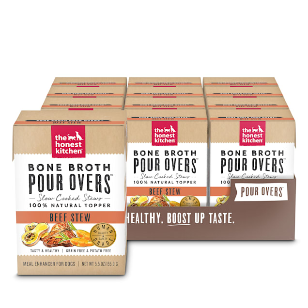 The Honest Kitchen Bone Broth Pour Overs: Beef Stew Wet Dog Food Topper, 5.5 oz., Case of 12 - Carousel image #1