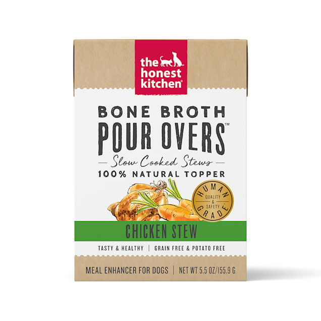 The Honest Kitchen Bone Broth Pour Overs: Chicken Stew Wet Dog Food Topper, 5.5 oz., Case of 12 - Carousel image #1