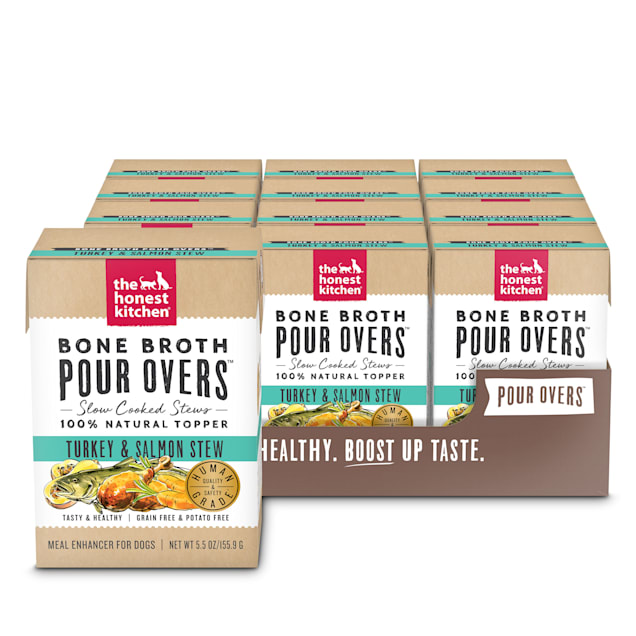 The Honest Kitchen Bone Broth Pour Overs: Turkey & Salmon Stew Wet Dog Food Topper, 5.5 oz., Case of 12 - Carousel image #1