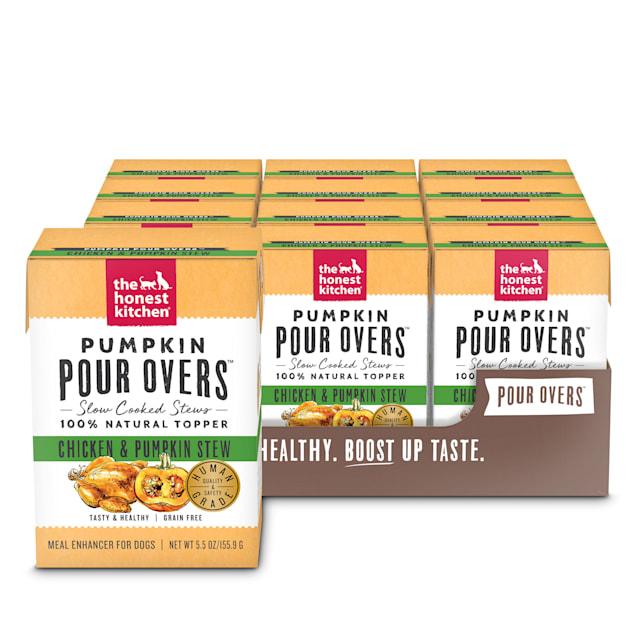 The Honest Kitchen Pumpkin Pour Overs: Chicken & Pumpkin Stew Wet Dog Food Topper, 5.5 oz., Case of 12 - Carousel image #1