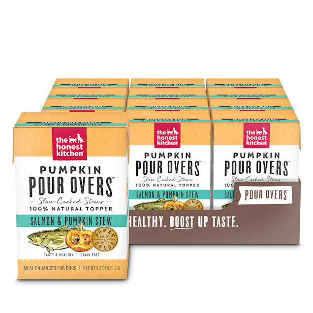 The Honest Kitchen Pumpkin Pour Overs: Salmon & Pumpkin Stew Wet Dog Food Topper, 5.5 oz., Case of 12 - Carousel image #1