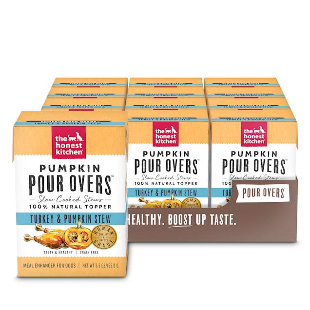 The Honest Kitchen Pumpkin Pour Overs: Turkey & Pumpkin Stew Wet Dog Food Topper, 5.5 oz., Case of 12 - Carousel image #1
