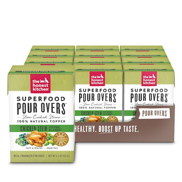 The Honest Kitchen Superfood Pour Overs: Chicken Stew with Spinach, Kale & Broccoli Wet Dog Food Topper, 5.5 oz., Case of 12 - Carousel image #1