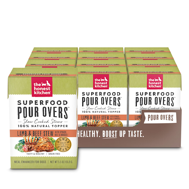 The Honest Kitchen Superfood Lamb & Beef Stew with Spinach, Kale & Broccoli Wet Dog Food Topper, 5.5 oz., Case of 12 - Carousel image #1