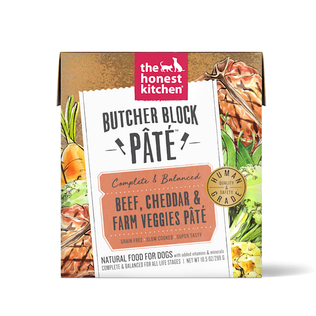 The Honest Kitchen Butcher Block Pate: Beef, Cheddar & Farm Veggies Pate Wet Dog Food, 10.5 oz., Case of 12 - Carousel image #1