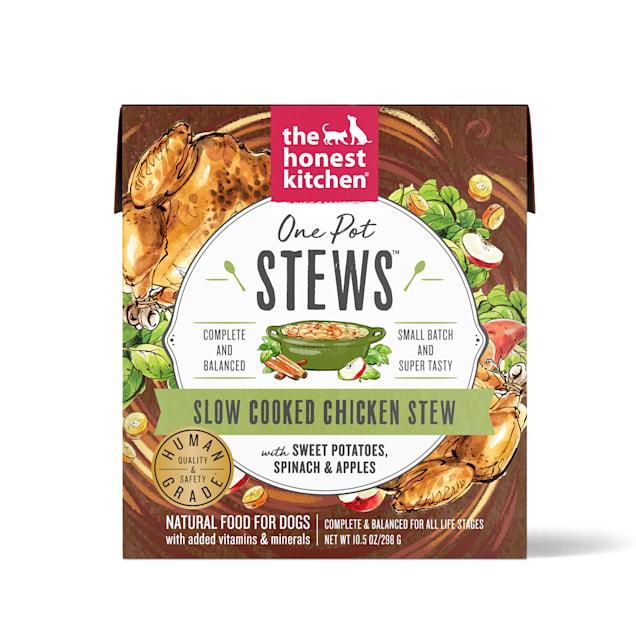 The Honest Kitchen One Pot Stews: Slow Cooked Chicken Stew with Sweet Potato, Spinach & Apples Wet Dog Food, 10.5 oz., Case of 6 - Carousel image #1