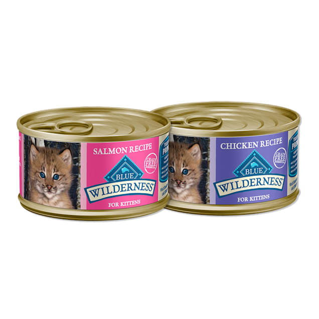 Blue Buffalo Blue Wilderness Natural Chicken & Salmon Pate Variety Pack Wet Kitten Food, 3 oz., Count of 24 - Carousel image #1