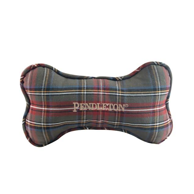 Pendleton Grey Stewart Plaid Bone Dog Toy, Small - Carousel image #1