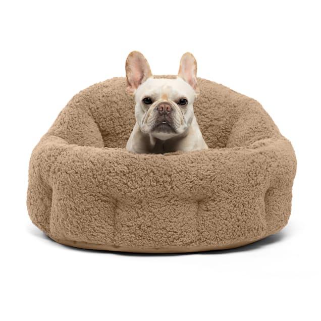 "Best Friends by Sheri Deep Dish Beige Cuddler Sherpa Dog Bed, 20"" L X 20"" W X 12"" H - Carousel image #1"