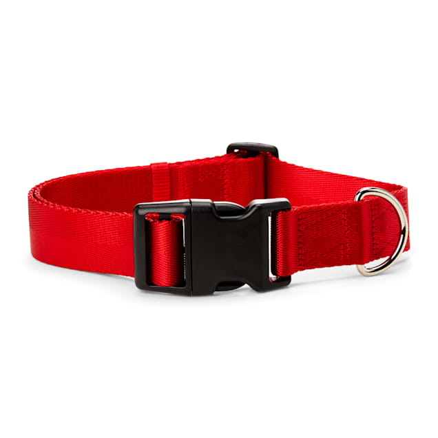 YOULY The Classic Red Webbed Nylon Dog Collar, Small - Carousel image #1