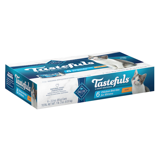 Blue Buffalo Blue Tastefuls Natural Chicken Entrees Variety Pack Wet Food for Kittens, 3 oz., Count of 6 - Carousel image #1