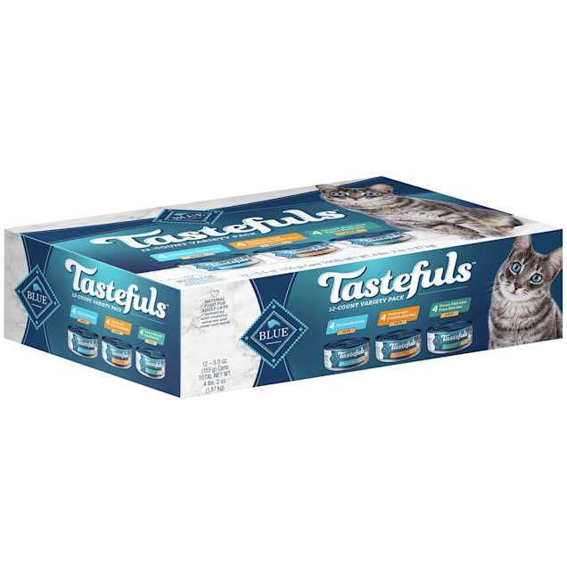 Blue Buffalo Blue Tastefuls Natural Adult Pate Variety Pack Wet Cat Food, 5.5 oz., Count of 12 - Carousel image #1