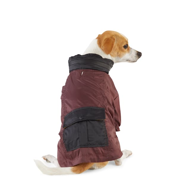 Reddy Burgundy Colorblocked Dog Raincoat, X-Small - Carousel image #1