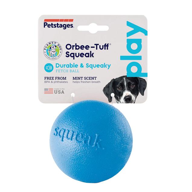Planet Dog Orbee-Tuff Blue Squeak Chew Ball Dog Toy, Medium - Carousel image #1
