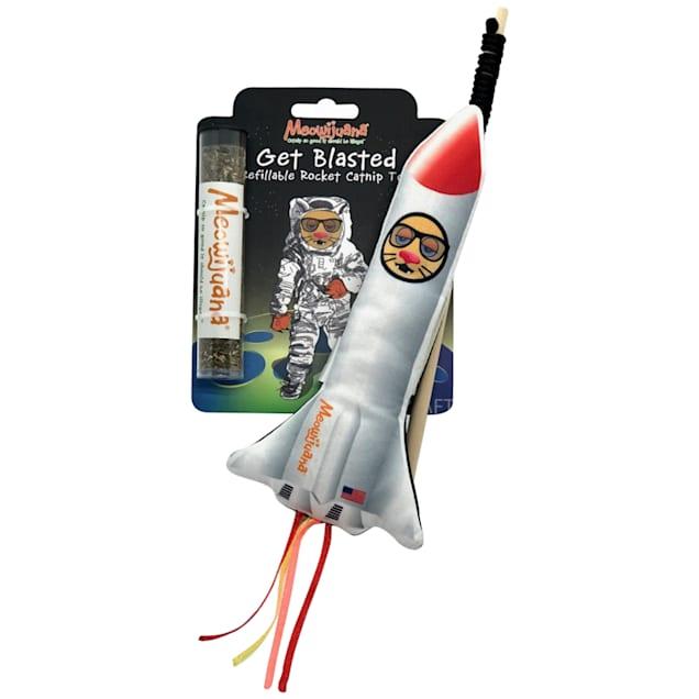 Meowijuana Get Blasted Refillable Rocket with Wand Cat Toy, Medium - Carousel image #1