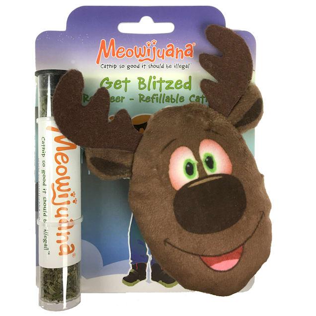 Meowijuana Get Blitzed Refillable Reindeer Cat Toy, Medium - Carousel image #1