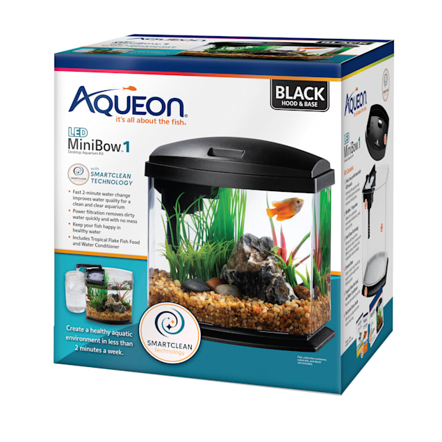 Aqueon Black 1 Gallon LED MiniBow SmartClean Kit - Carousel image #1