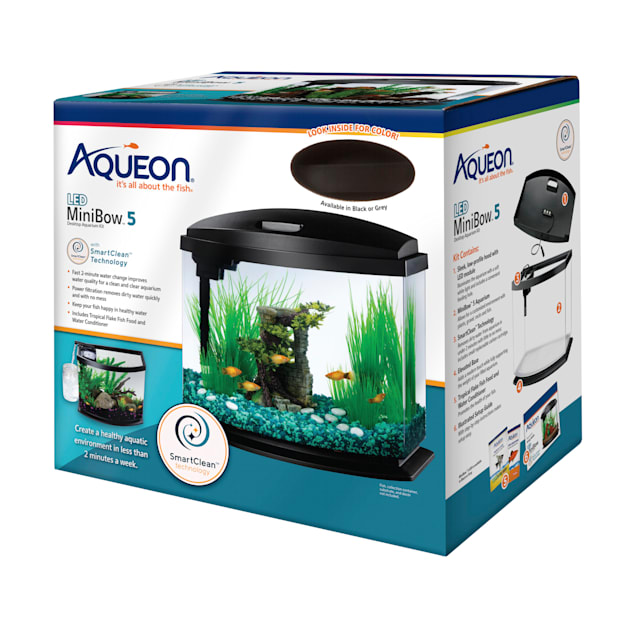 Aqueon Black 5 Gallon LED MiniBow SmartClean Kit - Carousel image #1