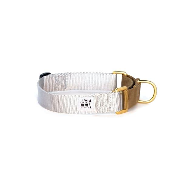 Dog + Bone Silver & Gold Martingale Dog Collar, Small - Carousel image #1
