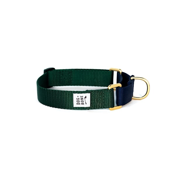 Dog + Bone Forest & Navy Martingale Dog Collar, Small - Carousel image #1