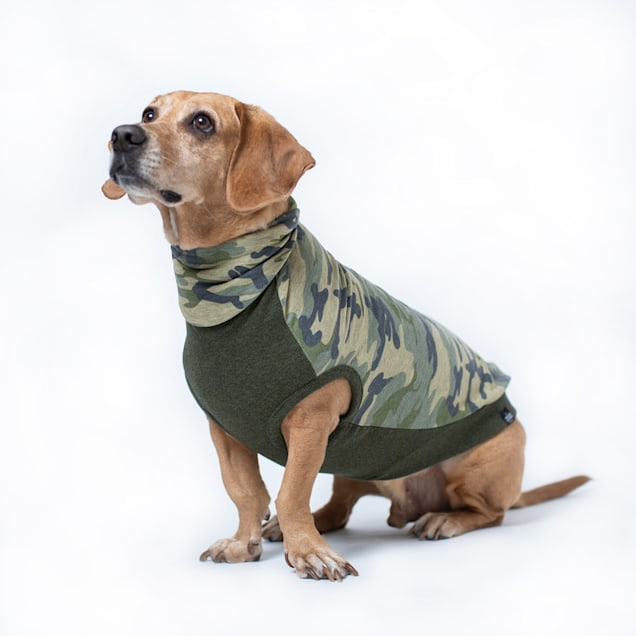 Long Dog Clothing Co. Patton Turtleneck Camo T-Shirt for Dogs, X-Small - Carousel image #1