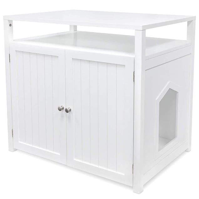 """Arf Pets White Cat Litter Box Enclosure Furniture Large Box House with Table, 31.5"""" L X 20"""" W X 21"""" H - Carousel image #1"""